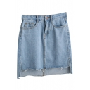 Plain Denim Zipper Fly Asymmetrical Hem Wrap Mini Skirt