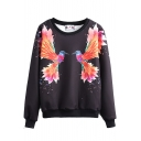 Bird Print Round Neck Long Sleeve Sweatshirt