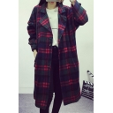 Plaid Long Sleeve Lapel Single Breasted Longline Woolen Coat