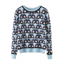 Round Neck Owl Print Long Sleeve Sweater