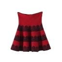 High Waist Lace Insert Ruffle Hem Knit Skirt