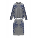 Gray Long Sleeve Leaf Pattern Sweater with Skirts