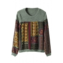 Tribal Print Chiffon Insert Round Neck Sweater