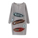 Letter Panel Boat Neck Long Sleeve Tunic Sweater