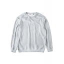 Round Neck Long Sleeve Plain Pullover Sweatshirt