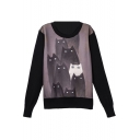 Cartoon Print Long Sleeve Round Neck Pullover Sweatshirt