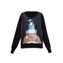 Round Neck Cartoon Print Long Sleeve Sweatshirt