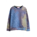 Round Neck Long Sleeve Pullover Ombre Sweatshirt