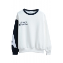 Color Block Letter Print Long Sleeve Round Neck Sweatshirt