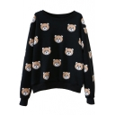 Round Neck Long Sleeve Pullover Bear Print Sweatshirt