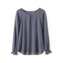 Gray Round Neck Long Sleeve Elastic Cuff High Low Chiffon Shirt