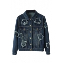 Lapel Single Breasted Double Pocket Ripped Long Sleeve Denim Jacket