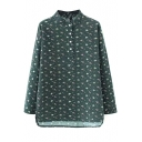 Stand Collar Buttons Long Sleeve Floral Print Shirt