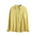 Plain Lapel Single Pocket Long Sleeve Single Breasted Loose Shirt