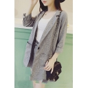 Gray Notched Lapel Long Sleeve Blazer with Shorts