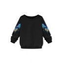 Long Sleeve Butterfly Embroidered Raglan Sleeve Sweatshirt