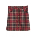Plaid Print Double Pocket Single Breast Skirt