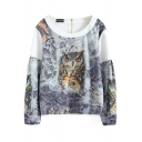 White Owl Print Long Sleeve Zipper Back Sweatshirt