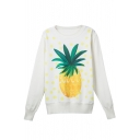 White Pineapple Print Round Neck Long Sleeve Sweatshirt