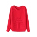 Round Neck Long Sleeve Pullover Plain Sweater