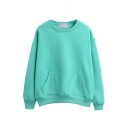 Double Pockets Plain Round Neck Long Sleeve Sweatshirt