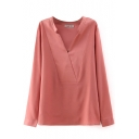 V-Neck Long Sleeve Plain Pullover Shirt