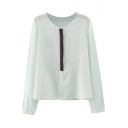 Tribal Embroidery Front Round Neck Long Sleeve Shirt