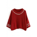 Stylish Round Neck 3/4 Length Split Back Pullover Sweater