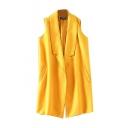 Plain Lapel Pockets Sleeveless Open Front Woolen Vest