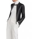 Stand Collar Black Long Sleeve Zipper PU Jacket