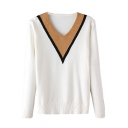Color Block Long Sleeve V-Neck Fitted Sweater