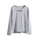 Plain Long Sleeve Cutout Front High Low T-Shirt