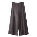 High Waist Zipper Side Wide Leg Suede Pants