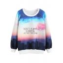 Round Neck Long Sleeve Landscape Print Sweatshirt