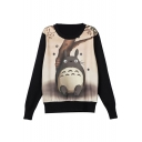 Cartoon Print Round Neck Long Sleeve Pullover Sweatshirt