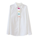 Lapel Button Down Long Sleeve Patchwork White Shirt