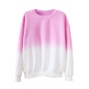 Round Neck Long Sleeve Ombre Pullover Sweatshirt