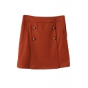 Plain Zip Side Four Buttons A-Line Mini Skirt