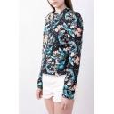 Gorgeous Floral Print Round Neck Long Sleeve Zipper Coat