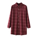Plaid Lapel Long Sleeve Single Breasted Tunic Shirt