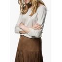 Round Neck V Back Long Sleeve Knit Plain Sweater
