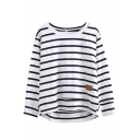Stripe Leather Applique Round Neck Long Sleeve Tee