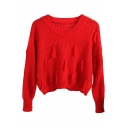 Plain Long Sleeve Tassel Decoration Crop Sweater