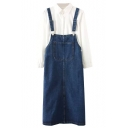 Pocket Detail Dark Blue Denim Overall Skirt