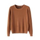 Plain Round Neck Long Sleeve Sweater