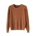 Plain Round Neck Long Sleeve Sweater