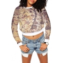 Brown Long Sleeve Map Print Crop Sweatshirt