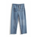 Button Fly Blue High Waist Raw Hem Long Jeans