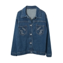 Lapel Long Sleeve Single Breasted Embroidery Denim Coat
