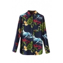 Single Breasted Lapel Long Sleeve Floral Print Shirt